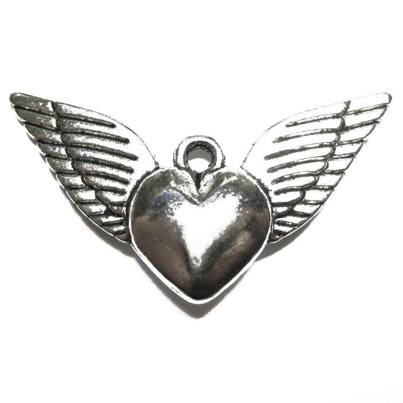 Anhänger für Charms Herz mit Flügeln 35 x 18 mm Metall DIY