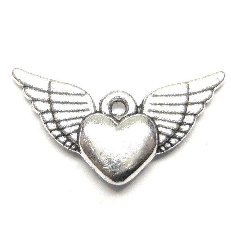 Anhänger für Charms Herz mit Flügel 12 x 25 mm Metall DIY