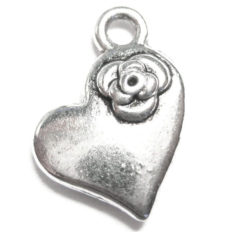 Anhänger für Charms Herz mit Rose Charm 12 x 14 mm Metall Vintage DIY