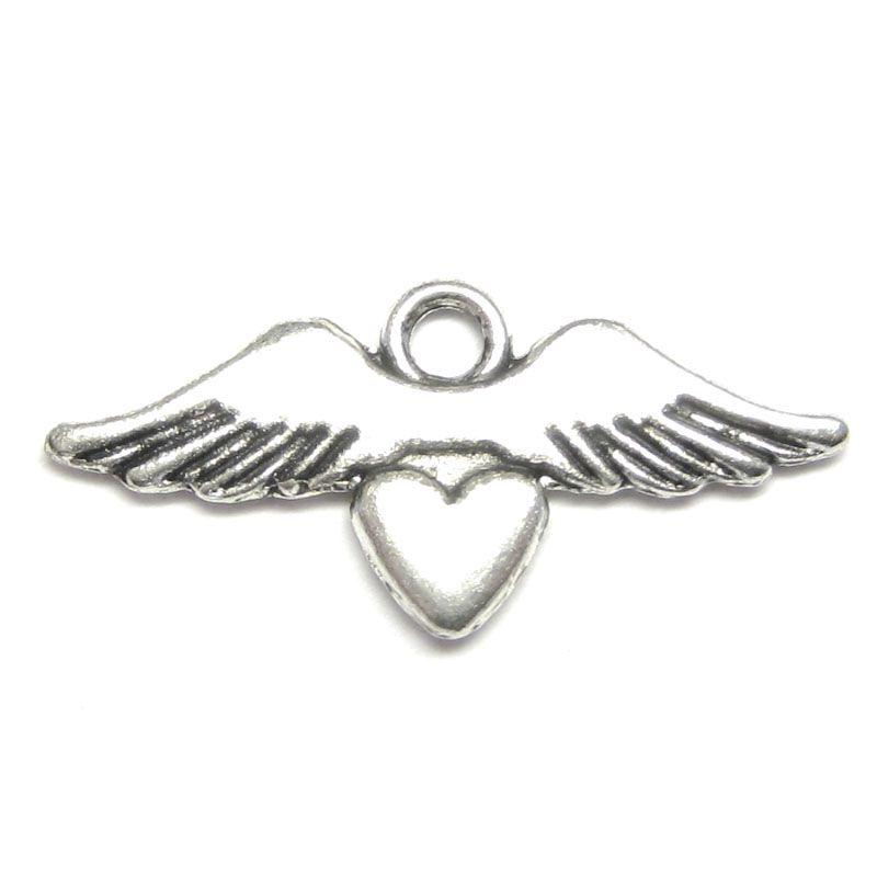Anhänger für Charms Herz mit Flügel 19x 10 mm Metall DIY