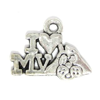 Anhänger Charm Hund I love my Dog Metall DIY