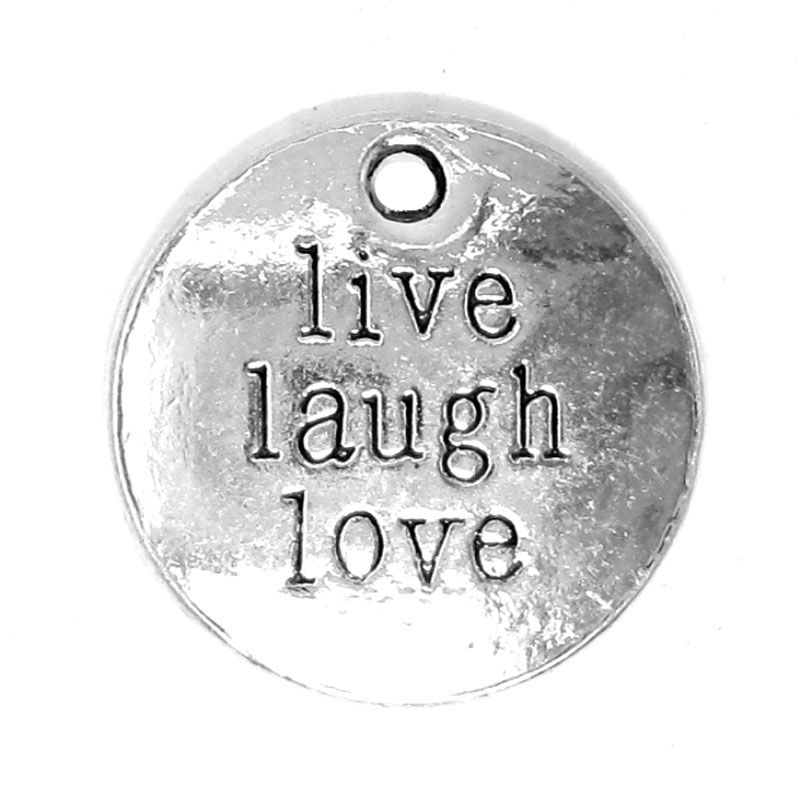 Anhänger Charm Live Laugh Love Metall DIY