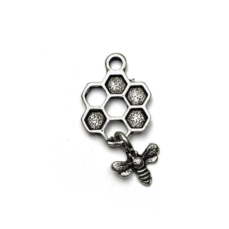 Anhänger für Charms Honigwabe mit Biene 13 x 26 mm Metall DIY