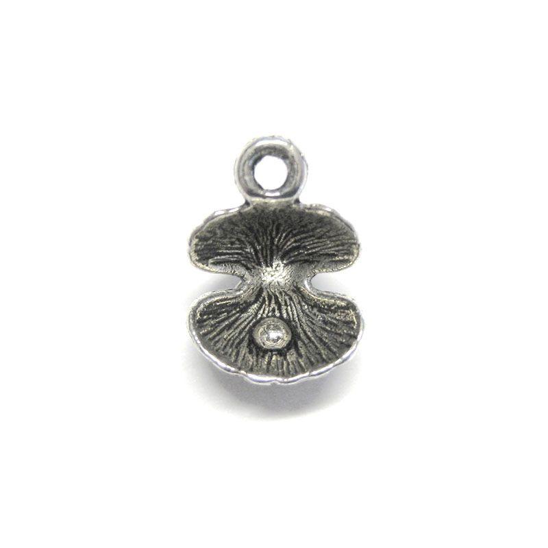 Anhänger Charm Muschel Auster mit Perle Metall DIY